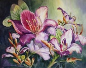 Bougainvilleas  & Orchids 3 Choices, Watercolor Print, 11 x 14,Tropical, Flower, Decorative art Home Decor, plant, red, green