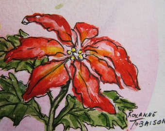 Poinsettia ACEO watercolor print E-944 Christmas by watercolorsNmore Art Card print