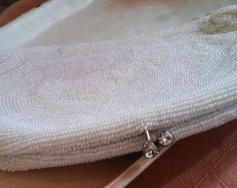 Vintage White Beaded Clutch Handbag
