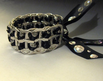 Soda Pop Can Tab Bracelet Recycled, Silver Dots Black Ribbon