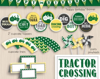 TRACTOR CROSSING Birthday Printable Package in Green and Yellow- Editable Instant Download