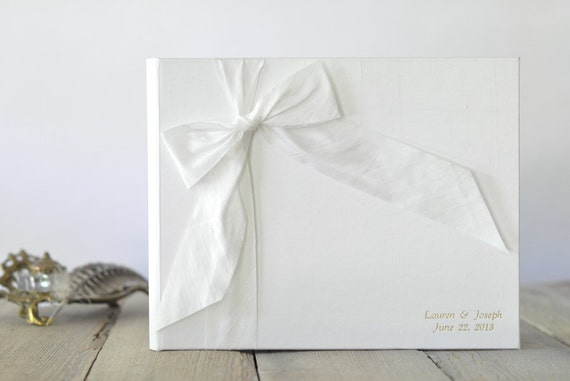 Wedding Album - Guest Sign In Book - Silk Dupioni Bow by Claire Magnolia
