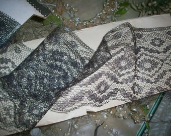 "1 yd. French antique gold/black metal lace trim 5 1/2"" wide"