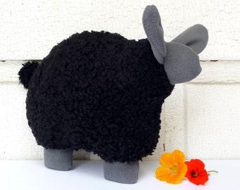 Stuffed lamb, flat toy, snuggly stuffed lamb - woolly black