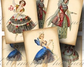 Victorian Costumes Digital Collage Sheet SALE!!! Vintage, Ballet, Theatre, Opera, Ballerina, Aged Digital Download ATC #3 - INSTANT Download