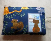reserved listing for robin l cat print padded makeup jewelry bag