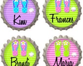 Set of 9 - PERSONALIZED FLIP FLOPS - With Swavorski Crystals - Ready To Use Bottle Caps For Pendants, Magnets, Keychains and More