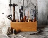 Large Desk Caddy, Desk Organizer, Office Desk Accessories, Pencil Holder, Tool Caddy, Wood Caddy, Wood Organizer, Wooden Box, Gift for Men
