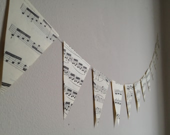 Small Music Notes Banner - Vintage Sheet Music Decoration - Paper Bunting Garland - 3 inch Triangles
