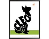 Personalized Sphynx Cat Silhouette Print, Framed Sphynx Print, Sphynx Name Art, Cat without Hair Gift