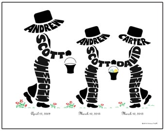Personalized Big Brother with Twin Brothers or Sisters Silhouette Print, Identical or Fraternal Twin Gift