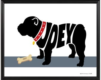 Personalized English Bulldog Print, Gift for a Dog Lover, Framed Dog Silhouette Print