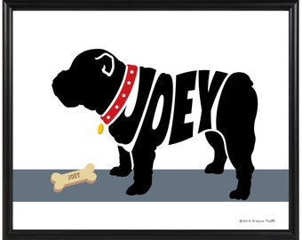English Bulldog Portrait, Personalized Bulldog Memorial, Bulldog Name Art Print, Custom Dog Silhouette