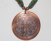 SALE Vintage Multistrand Copper Medallion Necklace, Jewerly