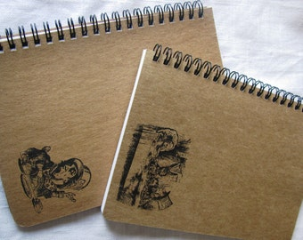 Alice in Wonderland Stamped Kraft Chipboard Notebook - choose from 6 stamps - 5 x 7 inches