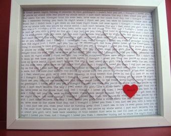 Custom Text 3D Heart Art in White Shadow Box- Wedding gift, Anniversary, Valentines Day, New Baby, Nursery Decor