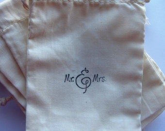 "100 ""Mr and Mrs'  stamped muslin drawstring bags"