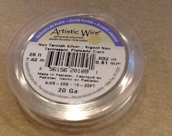 20ga Artistic wire non tarnish silver 25 feet