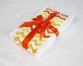 Orange Chevron Multitone Burp Cloths - Set of 2