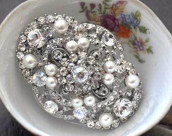 BRIDAL fascinator ,wedding brooch,wedding hair piece, crystal hairpiece,bridal head piece with SWAROVSKI Crystals -