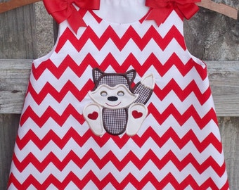 Fox applique dress red chevron sizes 9 months to 5