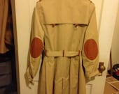 SALE Plus size women's  Sale plus size vintage leather elbow patch trench coat size 22