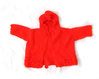 vintage sweater boy girl childrens 70s tomato red handmade hood cardigan 1970s size 2t
