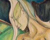 Reduced Price Was 3,000.00 NUDE luna Moth woman Original watercolor on Wood 2x4 feet erotic