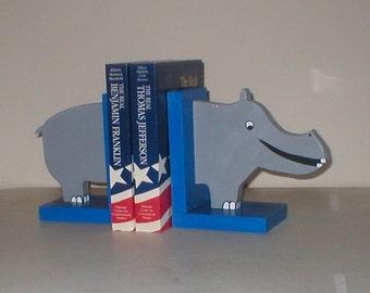 Happy Hippo Bookends
