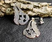 Earrings, handmade earrings, fancy earrings, copper silver earrings, post earrings, silver earrings, big earrings, dangle earrings