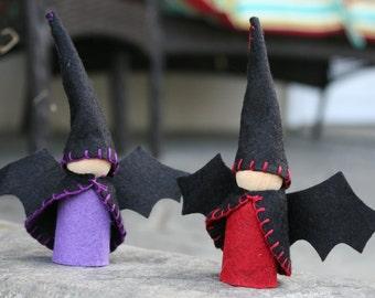 Vampire Bat Halloween Gnome Waldorf Inspired Wooden Doll