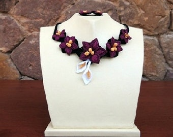 Purple Necklace set, Crochet Necklace, Lavender Necklace, Plum Necklace, Floral Necklace,Burgundary Necklace,Lilac statement bib,flower bib