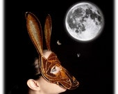 Hare masquerade ball mask, womens mask, costume, accessories, halloween mask, animal mask