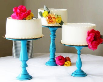Set of 3 Rustic Tall Pedestal Serving Cake Stands - Any color-