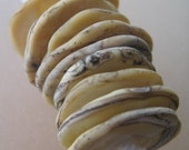 DISCS - Ivory Etched with Silver Rim - 8 Handmade Lampwork Glass Beads - InvTD0-1,2,3,4,5,6,7,8,9,10,11