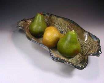 Ceramic serving dish, hand built pottery bread basket, stoneware fruit tray, pottery centerpiece, long ceramic bread basket dish