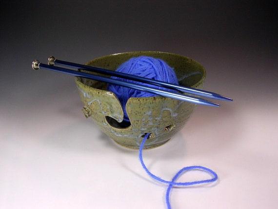 Yarn knitting  bowl crochet tatting holder blue green glaze