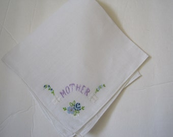 Vintage Mother's Day Mother Hankie Embroidered Mother of the Bride Bridal Wedding Hankie