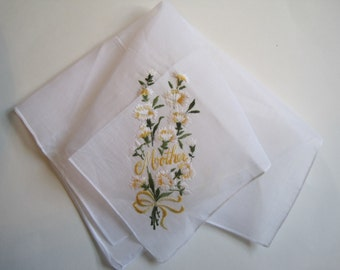 Vintage Mother of the Bride Hankie Floral Flowers Mother Wedding Hanky Bridal New Old Stock Free Ship