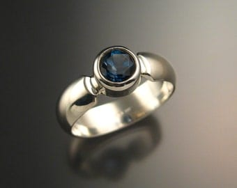 London Blue Topaz ring deep blue Sapphire substitute Sterling Silver handmade to order in your size