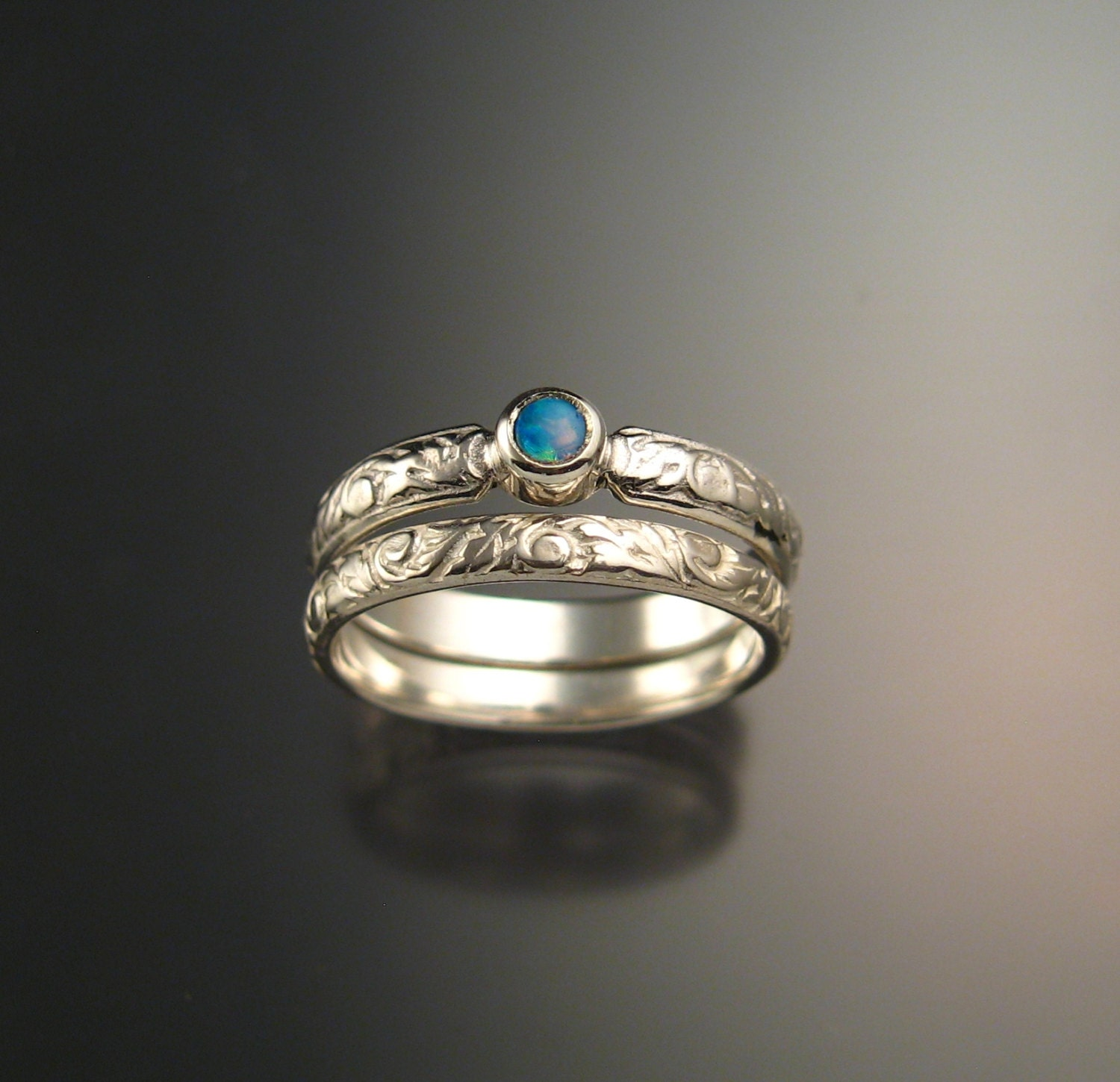 opal wedding set sterling silver victorian bezel set two ring set made to order in your size - Opal Wedding Ring Sets