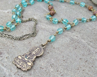Goddess of Mercy Pendant Necklace with Turquoise Blue Crystal and Gemstone Beaded Long Necklace, Zen Boho