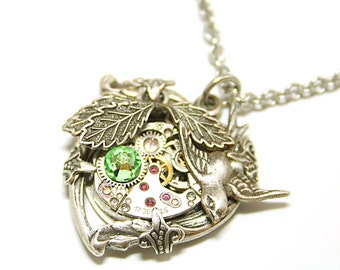 Steampunk Heart Necklace Silver Heart Necklace Green