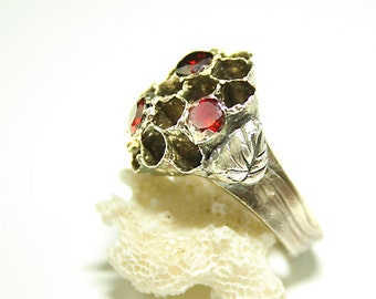 Fine Silver Ring Honeycomb Ring Beehive Ring Wasp Nest
