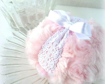 Pink Powder Puff - chiffon pink and white lace crochet, soft plush bath pouf - gift box option - by Bonny Bubbles