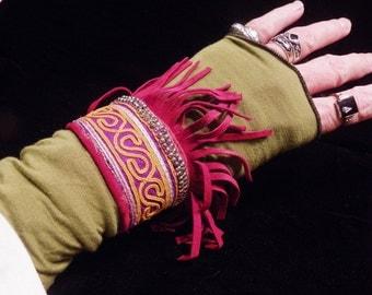 Cuff Red Suede Purple Afghanistan Beaded Fringed Peace Boho Hippie Gypsy Fabric Bracelet