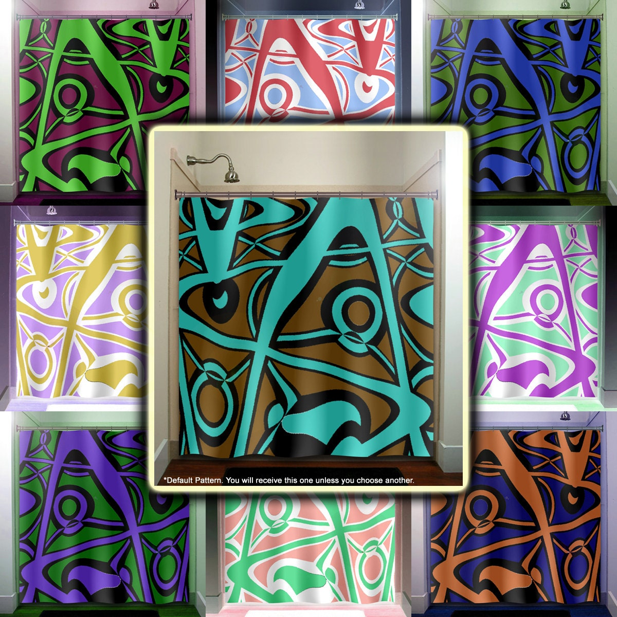 Abstract Turquoise Brown Modern Shower Curtain Bathroom Decor Fabric Kids  Bath Window Curtains Panels Valance Bathmat
