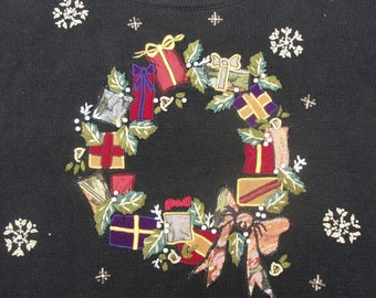 Rich Tapestry-like Appliques, Bead Work, and Embroidery Make this Ugly Christmas Sweater a Winner