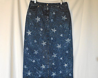 Upcycled Denim Skirt  - Jeans Skirt with Bleached Stars - Size 14