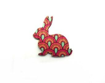 Red Orange & Green Swirl Laser Printed Wooden Rabbit Brooch - Handmade Vintage Jewellery
